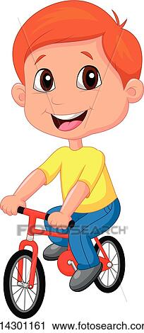 Clipart of Boy cartoon riding bicycle k14301161 - Search ...