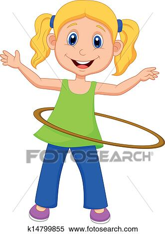 clipart of cute girl twirling hula hoop k14799855 search clip art rh fotosearch com animated hula hoop clipart hula hoop clipart free