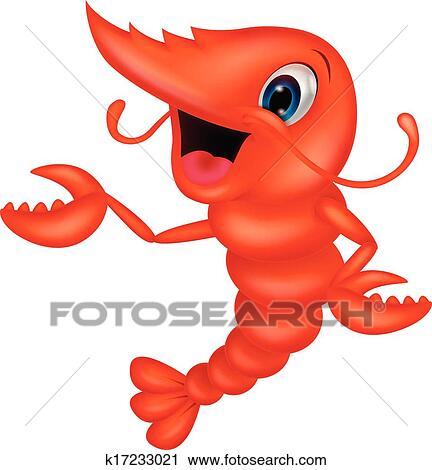 clipart of cute shrimp cartoon presenting k17233021 search clip rh fotosearch com Cartoon Shrimp Clip Art Crab Clip Art