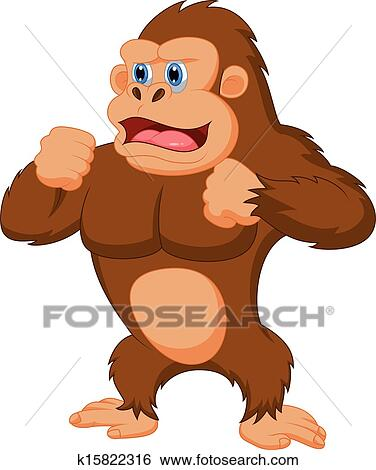 clip art of gorilla cartoon k15822316 search clipart illustration rh fotosearch com gorilla clipart images gorilla clipart black and white