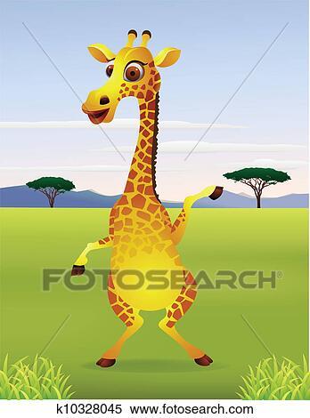 Clipart rigolote dessin anim position girafe - Girafe rigolote ...