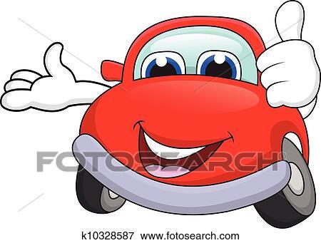 Clip Art of Car cartoon character with thumb up k10328587 ...