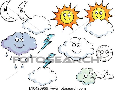 剪贴画 卡通漫画, 天气, 符号