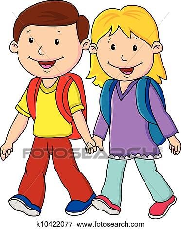 Clipart of Kids in their school uniform walking at the hill ...
