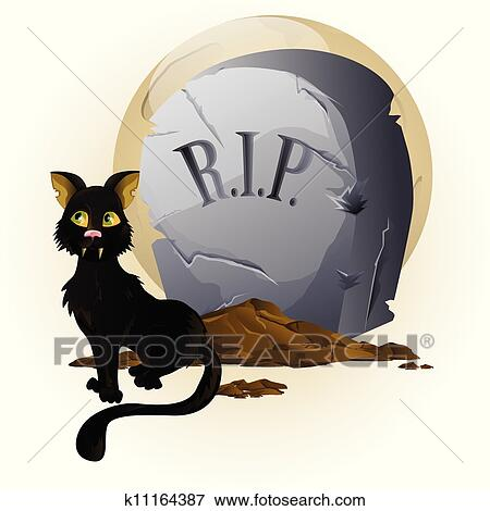 Clipart halloween chat sur pierre tombale k11164387 recherchez des cliparts des - Pierre tombale dessin ...