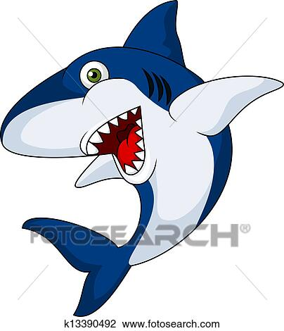 Clipart of Smiling shark cartoon k13390492 - Search Clip ...