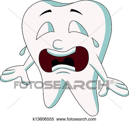Clipart of Cute tooth cartoon crying k13606555 - Search ...