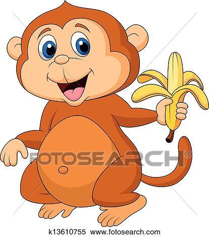 Clipart mignon singe dessin anim manger banane k13610755 recherchez des clip arts des - Dessin manger ...