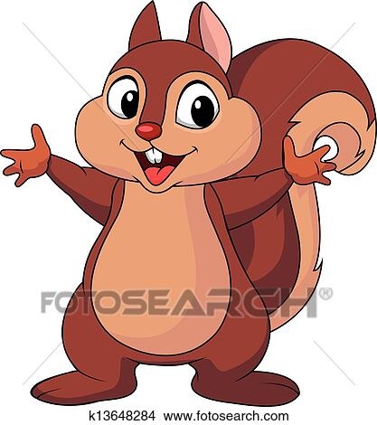 Clipart of Squirrel cartoon waving hand k13648284 - Search Clip ...