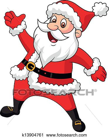 Clipart Of Santa Clause Cartoon Waving Hand K13904761