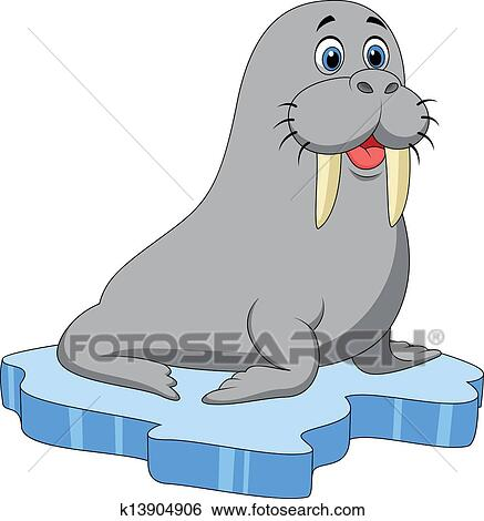 Clip Art of Cute walrus cartoon on ice k13904906 - Search ...