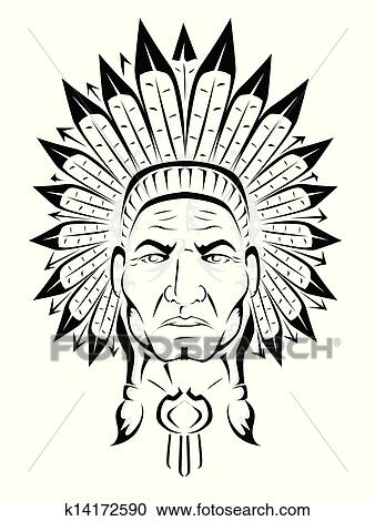 Clipart of American Indian chief k14172590 - Search Clip Art ...