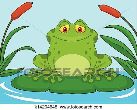 Banque d 39 illustrations mignon grenouille verte dessin anim sur a lis p k14204648 - Dessin de grenouille verte ...