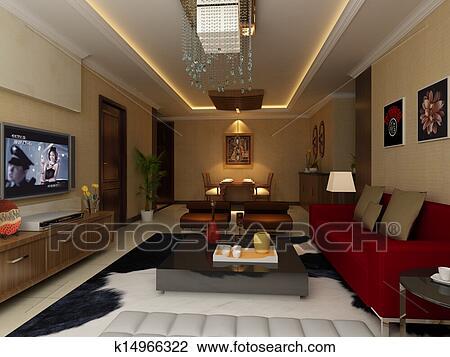 Banque de photo int rieur maison 3d rendre k14966322 for Voir ma maison en 3d
