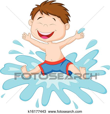 Clipart of Cartoon Boy jumping to the water k16177443 ...