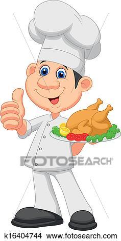 Clipart chef cuistot dessin anim poulet r ti k16404744 recherchez des clip arts des - Dessin de poulet roti ...