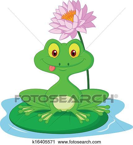Clipart grenouille verte dessin anim s ance sur a lea k16405571 recherchez des clip - Dessin de grenouille verte ...
