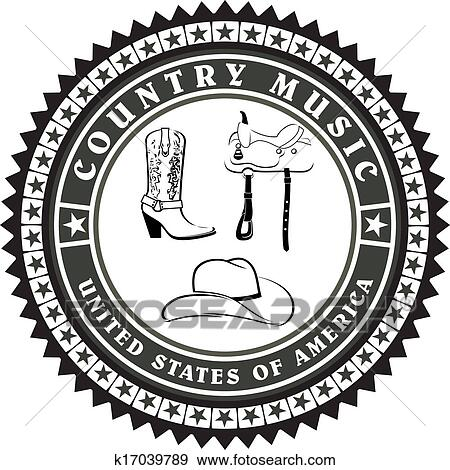 Clip Art of Vintage label country music vector k17039789 - Search ...