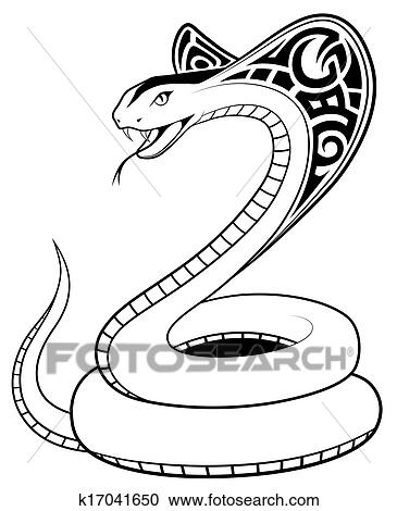 Clipart vecteur serpent tribal tatouage k17041650 - Dessin de serpent cobra ...