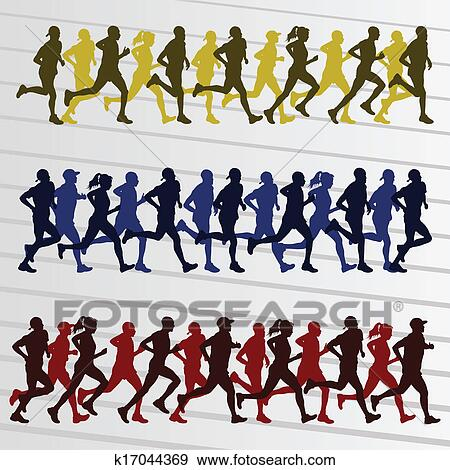 剪贴画 - 马拉松跑的人, 人们, 侧面影象, 背景;, 矢量图片