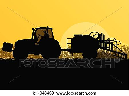 Tractor Spraying Clip Art