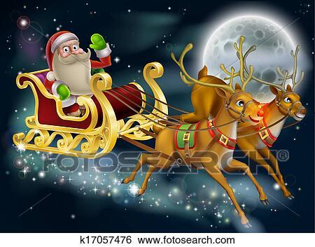 clip art of santa claus sleigh scene k17057476 search. Black Bedroom Furniture Sets. Home Design Ideas