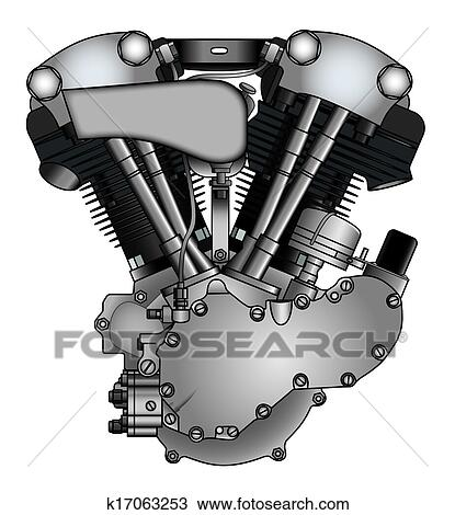 Drawing of classic V-twin motorcycle engine k17063253 ...