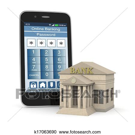 Online Banking Clipart With an Online Banking App
