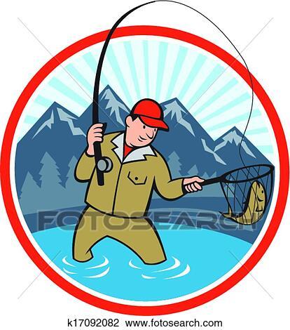 Clipart p cheur mouche attraper truite fish dessin - Dessin truite ...