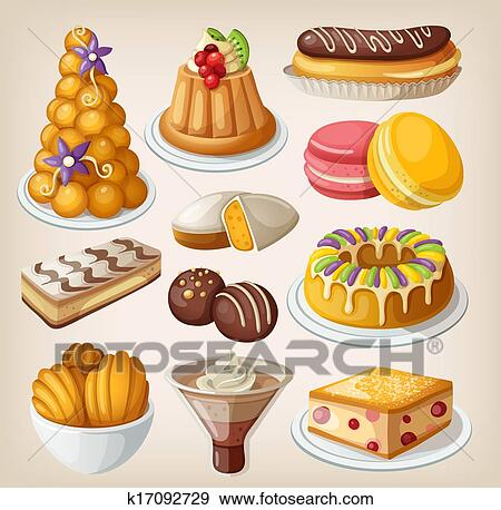 Stock Illustration of Set of traditional french desserts ...