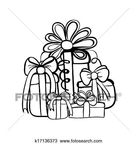 剪贴画 圣诞节礼物, 盒子, 堆, 勾画