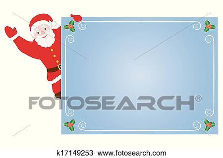 剪贴画 圣诞老人, 在上, 祝贺, 卡片