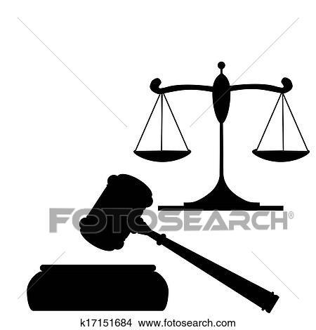 Clipart of Gavel and Scales of Justice k17151684 - Search Clip Art ...