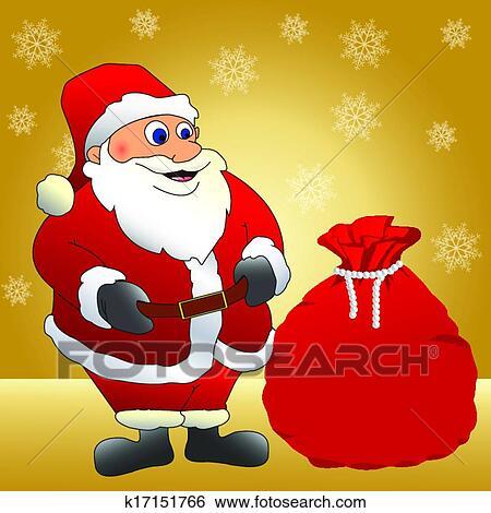 剪贴画 - 圣诞老人, 带