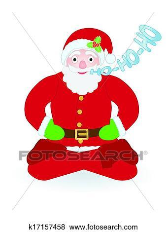 剪贴画 - 圣诞老人, 坐