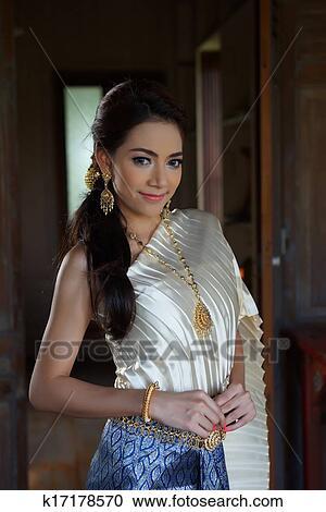 免版税(rf)类图片 - 泰国人, 妇女, 穿, 典型, 泰国人