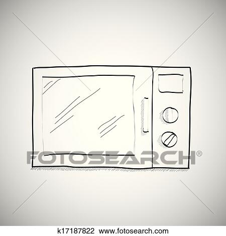Clipart Simple Hand Drawing Of Microwave Fotosearch Search Clip Art Ilration Murals