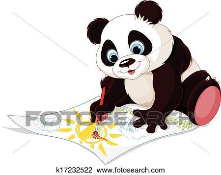 剪贴画 - 漂亮, 熊猫,
