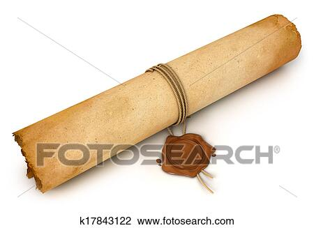 Clip art of old scroll paper with wax seal k17843122 for Drawing on wax paper