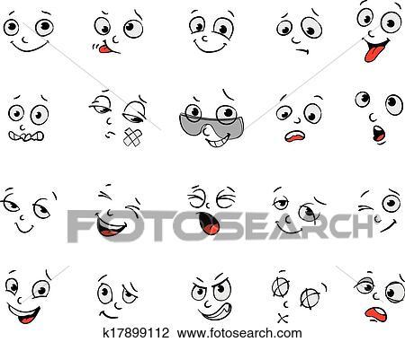 Clipart of Cartoon facial expressions set k17899112 - Search Clip ...