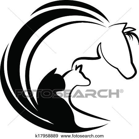 Clip Art Cavallo Gatto E Cane Stilizzato Logotipo