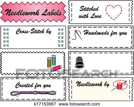 Clip art of needlework sewing labels k17153567 search clipart needlework sewing labels copy space to customize with your name for embroidery needlepoint cross stitch do it yourself fashion crafts hobbies solutioingenieria Image collections