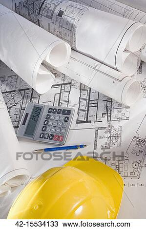 Stock Photo Of Office Blueprints And Calculator 42