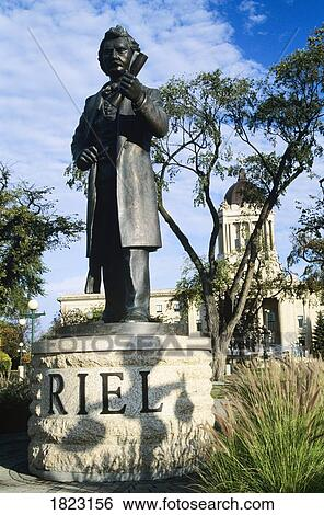 Stock Images Of Statue Of Louis Riel At The Manitoba