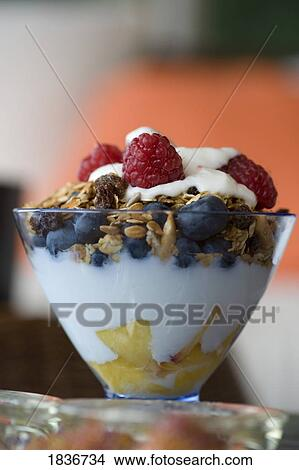 Stock Photo of Fruit and granola in yogurt 1836734 - Search Stock ...