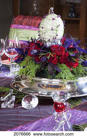 Stock images of close up of decorative christmas table for Ornamental centrepiece for a dining table