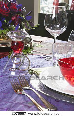 Image grand plan de d coratif no l table setting - Plan de table noel ...