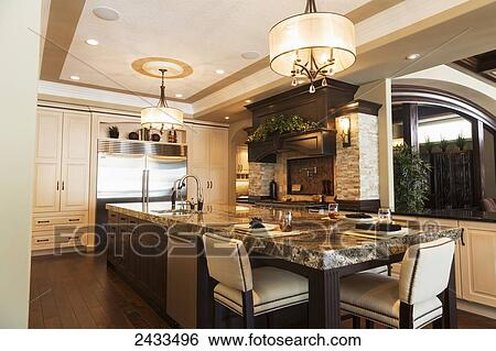 Stock Images Of Kitchen In Luxurious Custom Built Estate Home Edmonton Alberta Canada 2433496