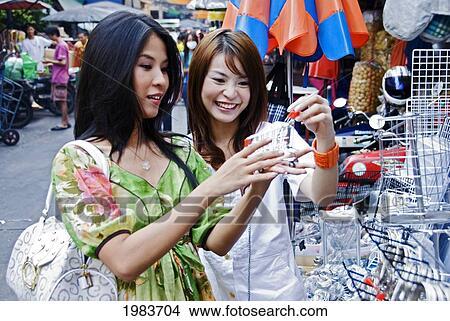 图吧- 泰国, 曼谷, 泰国人, 妇女, shopping.