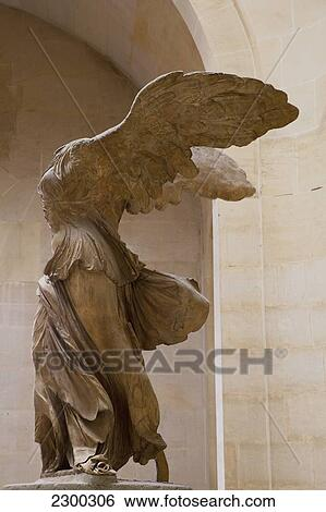 France, Winged victory statue of Nike of Samothrace in Louvre Museum; Paris
